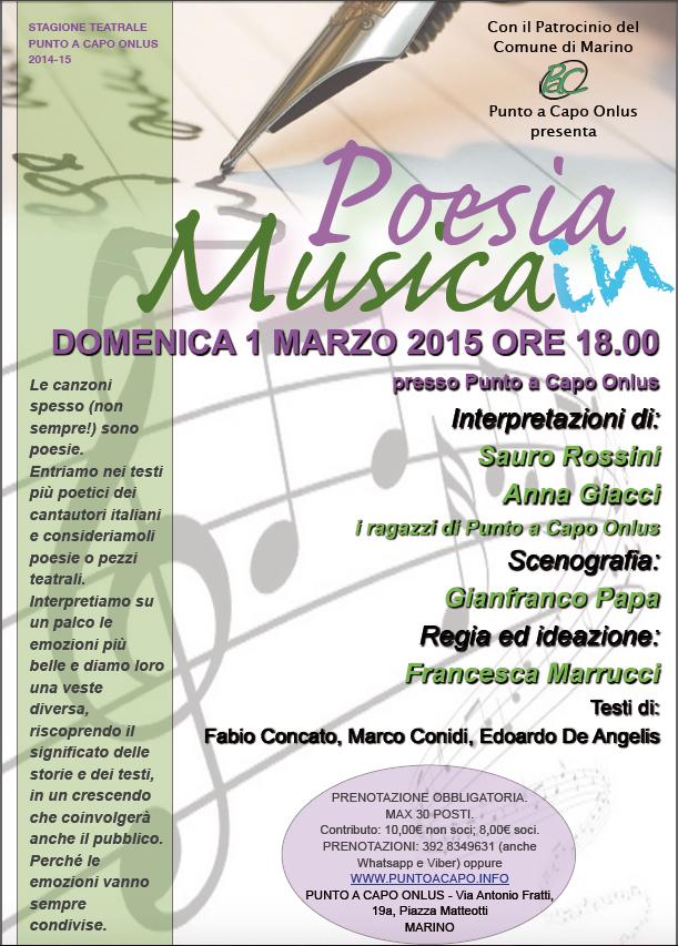 Un appuntamento per chi ama le canzoni, il teatro e la poesia il 1 marzo
