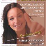 Sabato 5 marzo Seminario di PNL sull'AUTOSTIMA